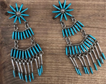 Zuni Turquoise Needlepoint Chandelier Earrings