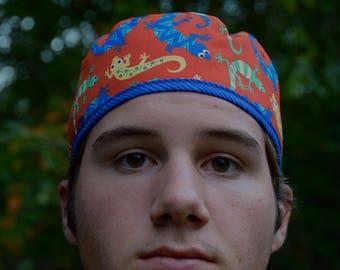 Men's scrub hat, southwestern geckos, adjustable tie hat