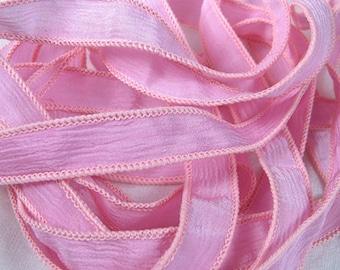 Silk Ribbon - Jewelry Bracelet - Fairy Ribbon - Quintessence - Pink Crinkle