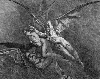 Hideous Erinyes Three Furies Megaera Tisiphone, Alecto Inferno Canto 9 Gustave Dore Hell Gothic Vintage Engraving To Frame Black & White