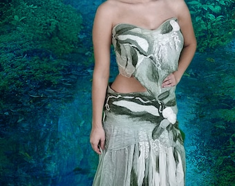 Felted Woodland Fairy Dress in Soft Sage Silk. Adult Fairy Costume. Festival Wear. Burning Man. Long Boho Skirt and Shawl. Wearable Art.