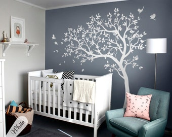 White tree decals Large nursery tree decals with birds stunning white tree decals Wall tattoos Wall mural removable vinyl wall sticker 032