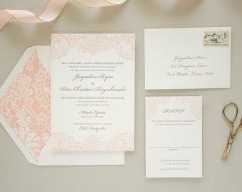 Letterpress Wedding Invitation with Letterpress Lace, Vintage Lace Invitation, Pink Invitations, Elegant Wedding Invite SAMPLE | Hope