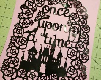 Once Upon A Time, papercut, decoration, decor, wall art, paper art, princess, castle, home decor, black