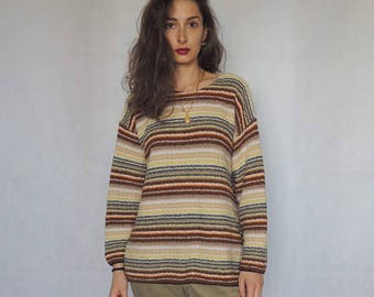 90s Vintage Striped Boyfriend's Knitted Slouchy Sweater