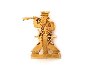Vintage soviet pin badge, sailor at the helm, made in USSR, 1980s