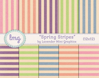 Vintage Stripes Spring Digital Scrapbook Paper, Vintage, Shabby Chic, Ephemera, Invitation Paper, 12x12, Instant Download, Commercial Use