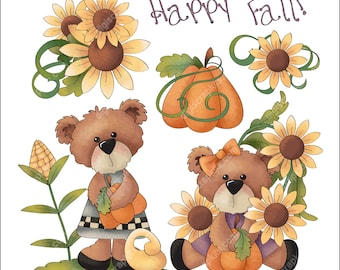 Happy Fall Bears - Clip Art Designs Graphics Illustrations Doodles Artwork Instant Digital Download, Commercial Use Allowed