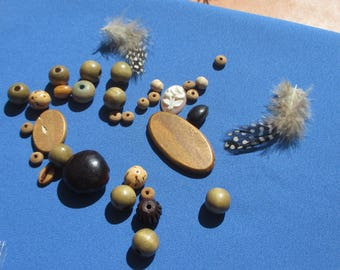 Lot Of  Salvaged Boho Beads  Cabochon Seeds Feathers