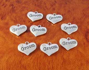 Groom heart charms - 8 rhinestone heart love charms - silver wedding charms for jewelry or craft making