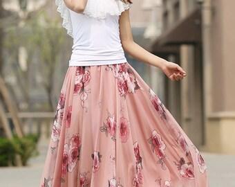 Chiffon skirt, wedding skirt, floral skirt, maxi skirt, long skirts for women, elastic waist skirt, boho skirt, handmade, swing skirt 936