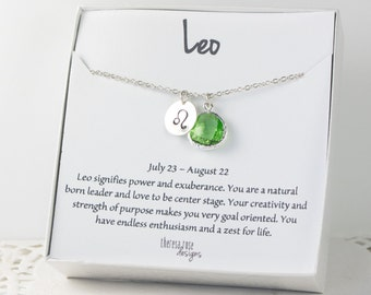 Leo Zodiac Silver Necklace, Leo August Birthday Necklace, August Birthday Jewelry, Zodiac Necklace, Astrology Silver Necklace