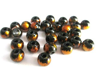 20 black speckled beads Orange brilliant glass 6mm