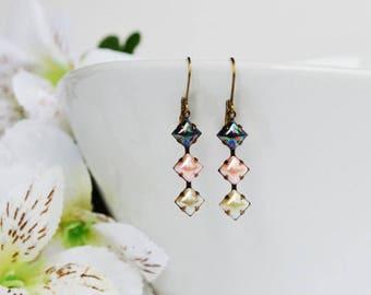 Dark Blue Pink Light Green Rhinestone Vintage Swarovski Drop Earrings, Petite Crystal Dangles
