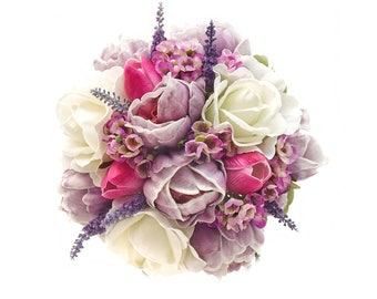 Stemple's Gatherings- Real Touch Lavender Peonies, White Roses, Hot Pink Tulips, Wax Flower & Lavender - In a vase or as a wedding bouquet