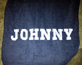 PERSONALIZED Beach Towel Custom Embroidery Name 100% Terry Cotton Velour Towel Made to Order