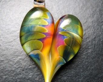 Beautiful Glass Heart Pendant  - Lampwork necklace pendant focal handmade by Boomwire Glass jewelry