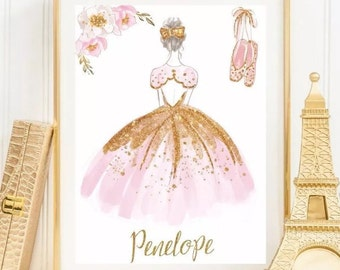 Ballerina Name Print Dancer Personalized Name Print Kids Room Nursery Art Printable Download Girls Room Wall Print Pink And Gold