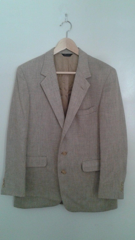 Vintage Hardy Amies London Soft Silk Blend Tan Grey Herringbone Sport Coat Jacket Blazer Sz 38 Traditional OT4xG8E