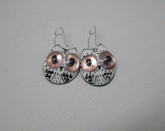 """French handicraft,Black and white earrings """"Owl"""", enamels on copper."""