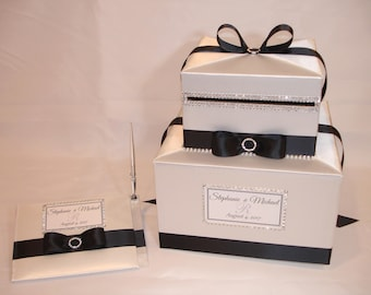 Ivory and Black Card Box with matching Guest Book and Pen