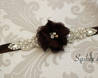 Brown flower girl belt, flower sash, wedding belt, belt sash, bridesmaid belt, wedding sash, crystal rhinestone belt, dress belt