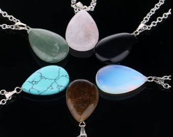Chakra Point Healing Waterdrop Pendant Necklace