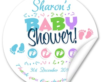 Personalised Baby Shower Stickers / Seals, Full Colour Gloss 45mm, Boy or Girl V1