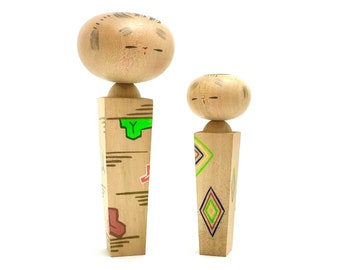 Vintage Kokeshi doll - couple object - Made in Japan 1960s - minimal diamond