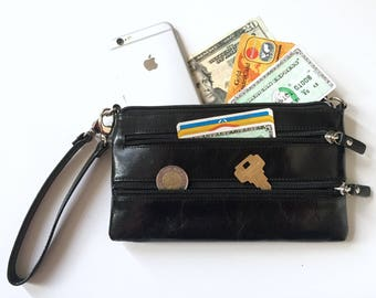 Danier Leather Evening Bag - Wristlet Wallet - Designer Leather Wallet - Womens Wallet Women - Ladies Wallet Leather - Woman Wallets Vintage