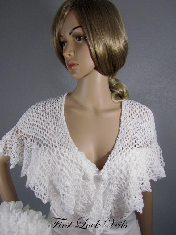 White Shawl, Bridal Shrug, Wedding Shoulder Shrug, Crocheted Button Closing, Crocheted Shawl, Shrug, Bridal Attire, Bridal Accessory, Women