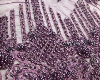 Wife of King Beaded Lace New Queen Fabric By The Yard (Purple)