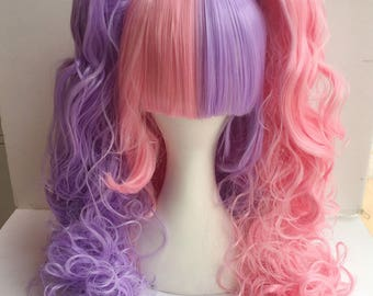 Lolita Cosplay Wig Mix Colour curly with two clip Style