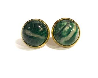 Green Gold Leaf Earrings | Opalescent Gold Foil Earrings | Gold Foil Green Earrings | Green Gold Foil Earrings | Green Gold Leaf Studs