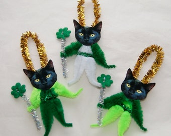 Chenille Ornaments, Black Cats St. Patrick's Day, Lucky Shamrocks (173)