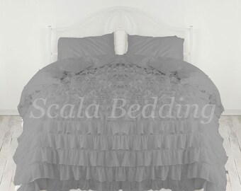 100% Egyptian Cotton 1000TC Grey Ruffle Duvet Cover Set Select Size