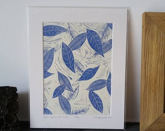 Blue Leaves of Winter - limited edition lino print