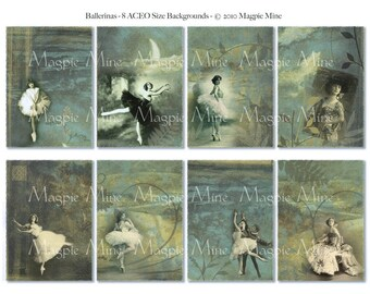 Ballerina Backgrounds Collage Sheet - Instant Download - Dancers in Fairy Tale Swirly ACEO Images - Digital Download - Printable