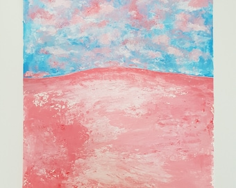 Meadow - pink and blue A3 acrylic cloud landscape painting