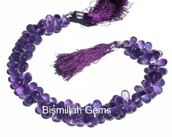 1/2 Strand 35Pcs - Genuine African Amethyst Micro Faceted Tear Drop Briolettes Size 7x6 - 9x5mm