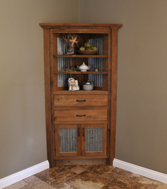 corner hutches for living room rustic corner cabinet reclaimed barn wood w barn tin 6202 20065