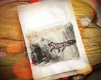 Little Fox Book- Handmade Recycled Paper Notebook- Stitched Recycled Art Paper and Old Books Sketchbook Miniature with Hand Stitched Fox