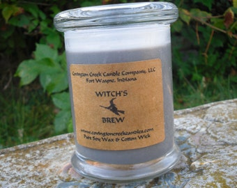 Halloween Pure Soy Candle.  Your Choice of New Moon, Witch's Brew, Cider Web, Dragon's Blood , Wolfsbaine, Zombie Punch 8 oz Status Jar.
