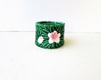 Vintage Tropical Flower Incense Burner - Green and Pink Ceramic Cone Incense Burner - Vintage Pottery Incense Holder - Flower Incense