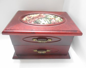 Vintage Mirrored Jewely Box -- Flowered Tapestry Lid -- Very Nice!!