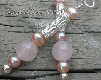 I Dream of Jeannie - Rose Quartz and Pink Pearl Sterling Silver Earrings - Handmade by Dorana