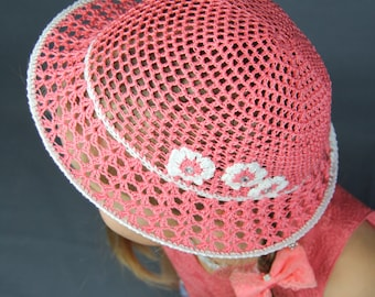 Crochet hat for kids Girl summer hat with flower Baby sun hat with brim Coral hat Flower sun hat Toddler sun hat Baby girl summer hat Panama