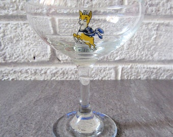 Babycham Glass. Vintage Babycham Glass. Blue and Yellow Fawn Glass. Coupe Glass. SLIGHT FAULT - No Gold Rim and Scratch On The Glass.