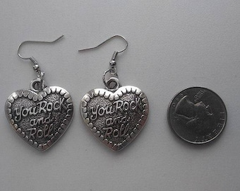 Rock and Roll Heart Tibetan Silver Earrings or Corded Necklace