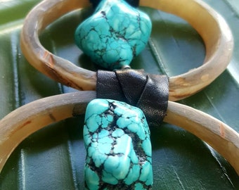 Horn Necklace and Turquoise! Unique design